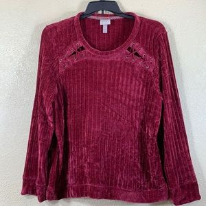 Knox Rose Sweater Top Dark Red Burgundy Velvet XXL